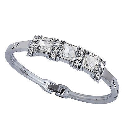 Silver Plated Alloy Crystal/Rhinestone Bracelet Bangle Lady Prom Gift