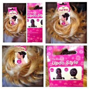 Synthetic-Hair-Scrunchie-Wavy-Hairpiece-Wrap-Messy-Updo-Bun-BR39-Blonde-mix