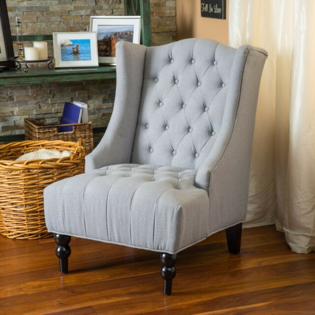French Vintage Inspired Tall Wingback Silver Tufted Fabric Accent Chair