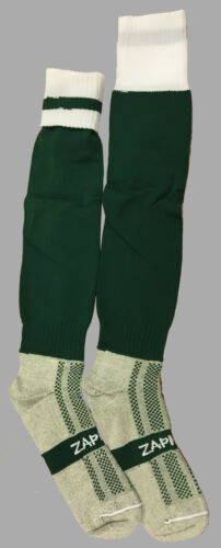 12 PAIRS Dark Green White Turnover Football Socks Size Medium 36 Feet