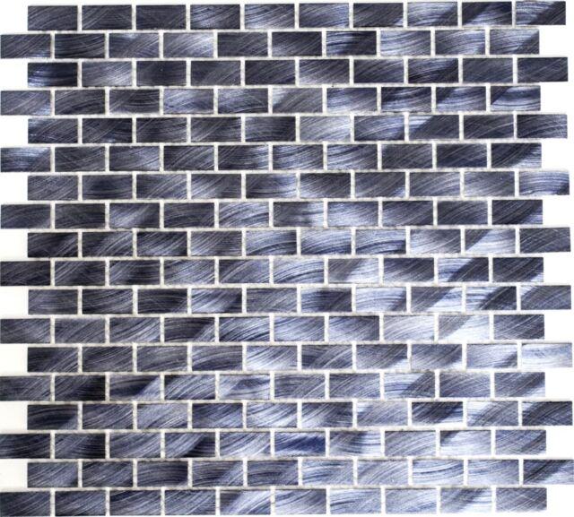 Aluminiummosaik schwarz gebürstet Küche Wand WC Bad Art: WB48-0304 | 1 Matte