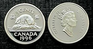 Canada-1996-Proof-Gem-Silver-Five-Cent-Nickel