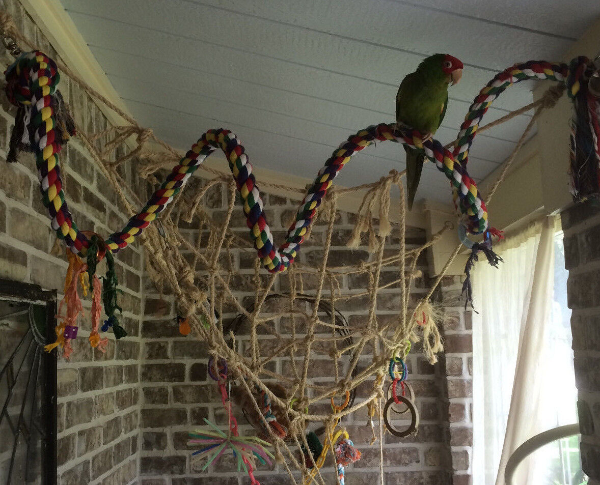Parrot Perch Bird Perch Cotton Rope Boing Swing Spiral Bungie with Toys Large