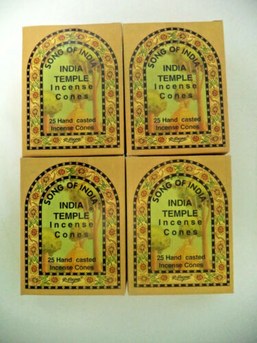 Bulk 100 Cones Lot 4 x 25 Boxes Song of India Cone India Temple Incense