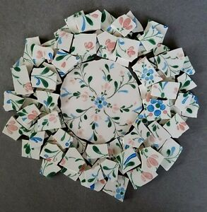 VINTAGE HANDPAINTED PINK AND BLUE FLORAL MOSAIC TILES + FOCAL FASCINO STONEWARE