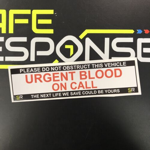 Sticker 245mm URGENT BLOOD On Call Sign Car Van Emergency Response
