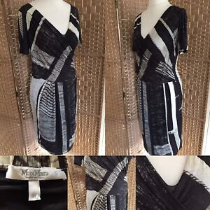 "MAX MARA Black Cream Yellow MOCK WRAP Dress Sz 12 14 L41"" STRETCH Lined BUSINESS"