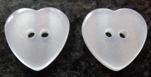 WHITE OR PEARL EFFECT SMALL MEDIUM LARGE HEART BUTTONS 10mm 14mm 16mm