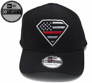 New - New Era 39Thirty Black Superman Thin Red Line Flag Hat - Free ... a02eee5e6