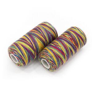 2-Rollen-1000m-Multicolor-Naehgarn-0-50-100m-Staerke-100-Regenbogen-bunt