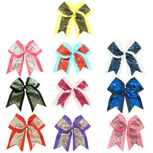 8-Inch-Large-Sequin-Cheer-Bows-Bling-Grosgrain-Ribbon-Hair-Bow-Girl-039-s-Clips