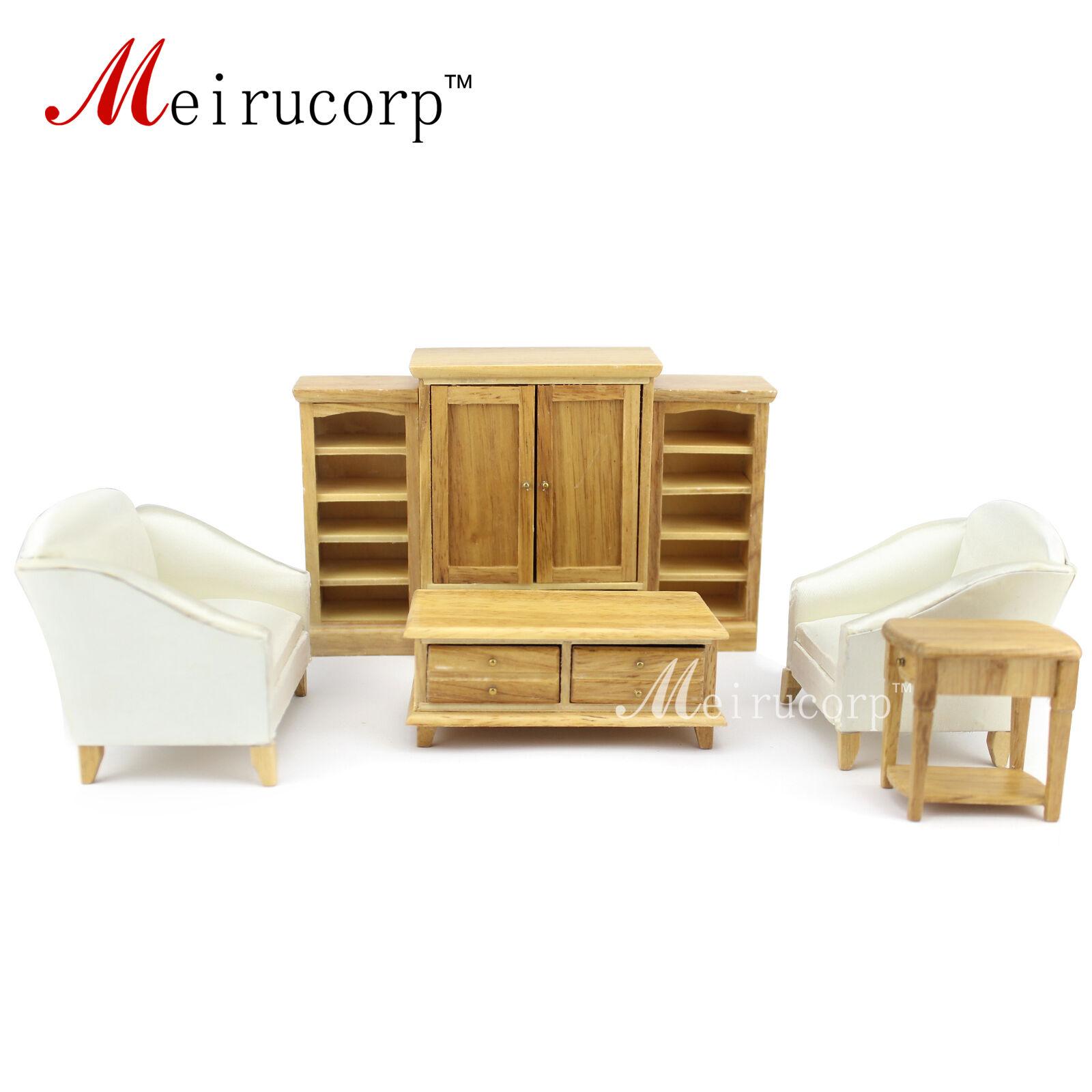Escala 1 12 casa de muñecas en miniatura muebles de sala de 7 piezas de mano de madera conjunto de sofá