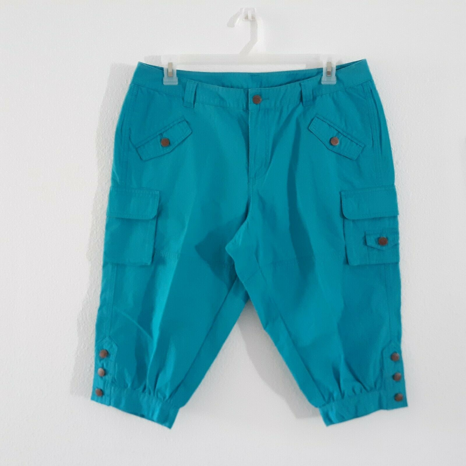 Venezia Turquoise Blue Cargo Capri Pants Women's … - image 5