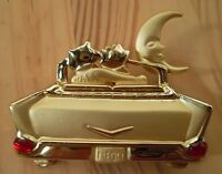 Cat Jewelry Brooch Pin 2 Cats In Parked Car Under Moon Signed Gold Plated,