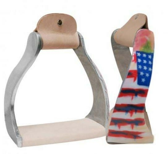 Showman Twisted Angled Aluminum Stirrups w  Painted Distressed American Flag NEW