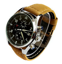 SUPREME Aviator Pilots 43mm CHRONOGRAPH Military Army Vintage Style Quartz Watch