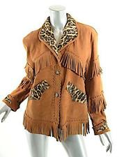TASHA POLIZZI for T.P. Saddle Blanket & Co Cognac Suede Jacket w/Faux Fur Trim-M