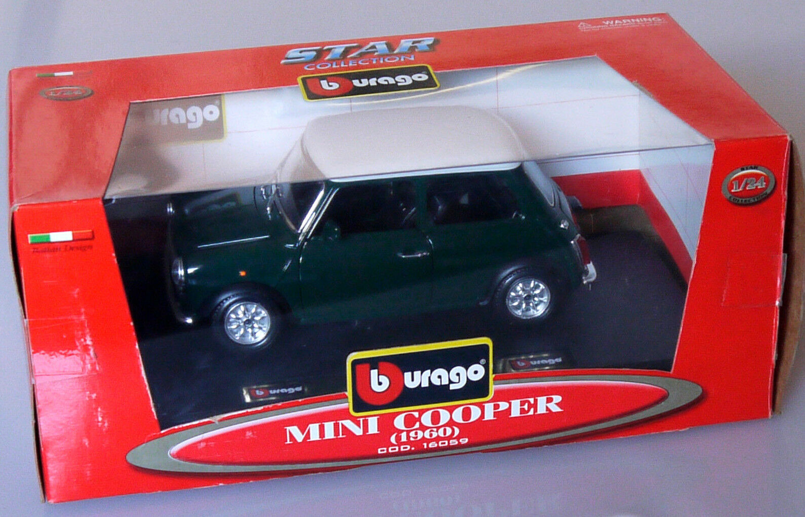 PRL) BBURAGO BURAGO 1 24 METAL DIE CAST COD 16059 MINI COOPER 1960 STAR COLLECT
