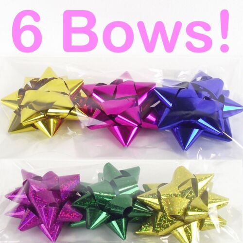 Xmas Present Packing 6x Metallic Star Gift Bows