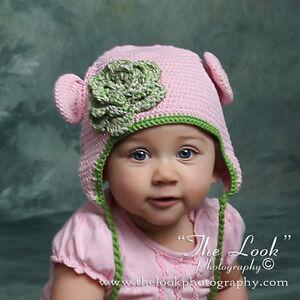 7ed4c84c6 Melondipity Girl Pink Green Crochet Baby Beanie Hat Knit Animal ...