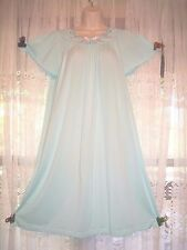 LOVELY SHADOWLINE SILKY AQUA FULL A-LINE NIGHTGOWN GOWN~SMALL~PINK FLORAL ACCENT