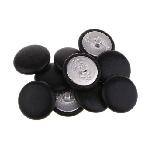 10Pcs Faux Leather Covered Buttons Upholstery Knitting Craft Black
