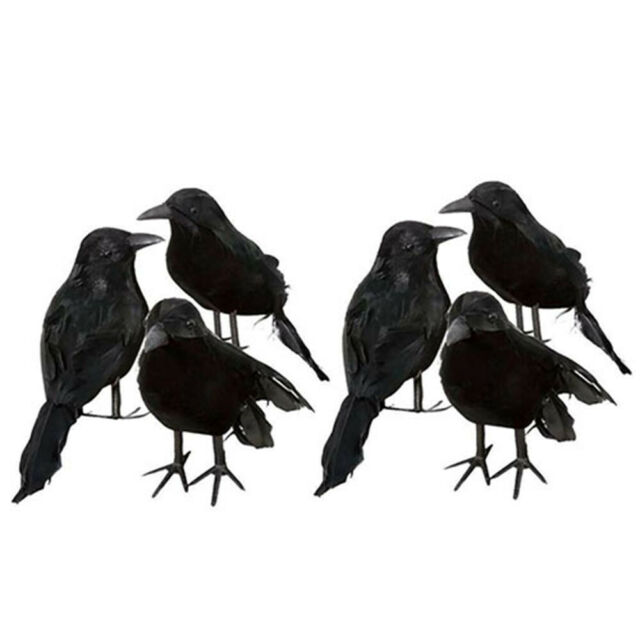 Artificial Feathered Raven Bird Simulation Crows Halloween Crow Black Birds