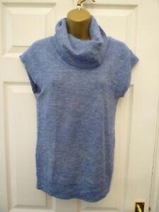 FAT FACE Ladies Size 10 Blue Cowl Soft Wool & Alpaca Blend Sleeveless Jumper Top