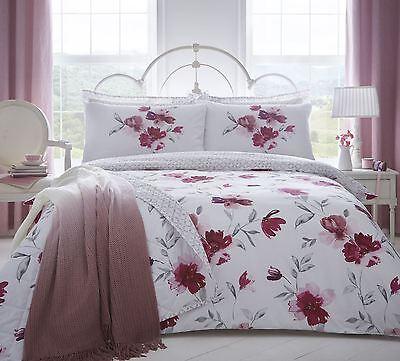 Groß Aquarell Stil Blumen Rot Rosa Baumwollmischung Super King Bettbezug Bettwaren, -wäsche & Matratzen Möbel & Wohnen