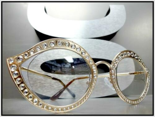 New CLASSIC VINTAGE RETRO Style Clear Lens EYE GLASSES Bling Crystals Gold Frame