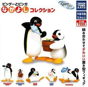 Pingu-Penguin-Complete-Set-5-Figure-Collection-Donut-Flower-Tomy-Gashapon