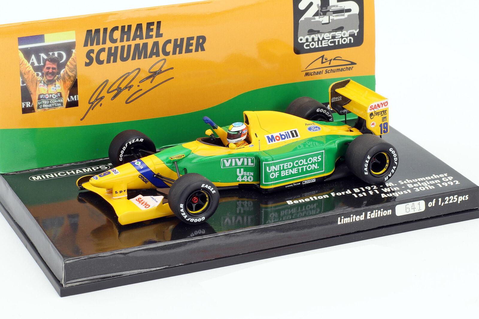 M. schumacher benetton b192 st win Bélgica gp fórmula 1 1992 1 43 Minichamps