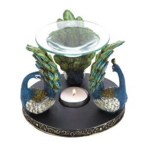 Peacock Plume Oil Warmer/Oil Burner with Design of Trio Peacocks
