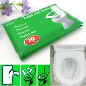 Details About 10 Disposable Toilet Seat Covers Camping Festival Loo Paper Pocket Size Tissue