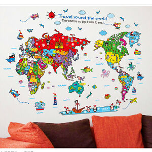 Animals colorful world map kids bedroom diy wall sticker art decal image is loading animals colorful world map kids bedroom diy wall gumiabroncs Images