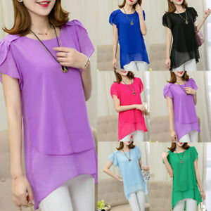 Women-Short-Sleeved-Chiffon-Shirt-Tops-Large-Size-Loose-Long-Section-Summer-Top