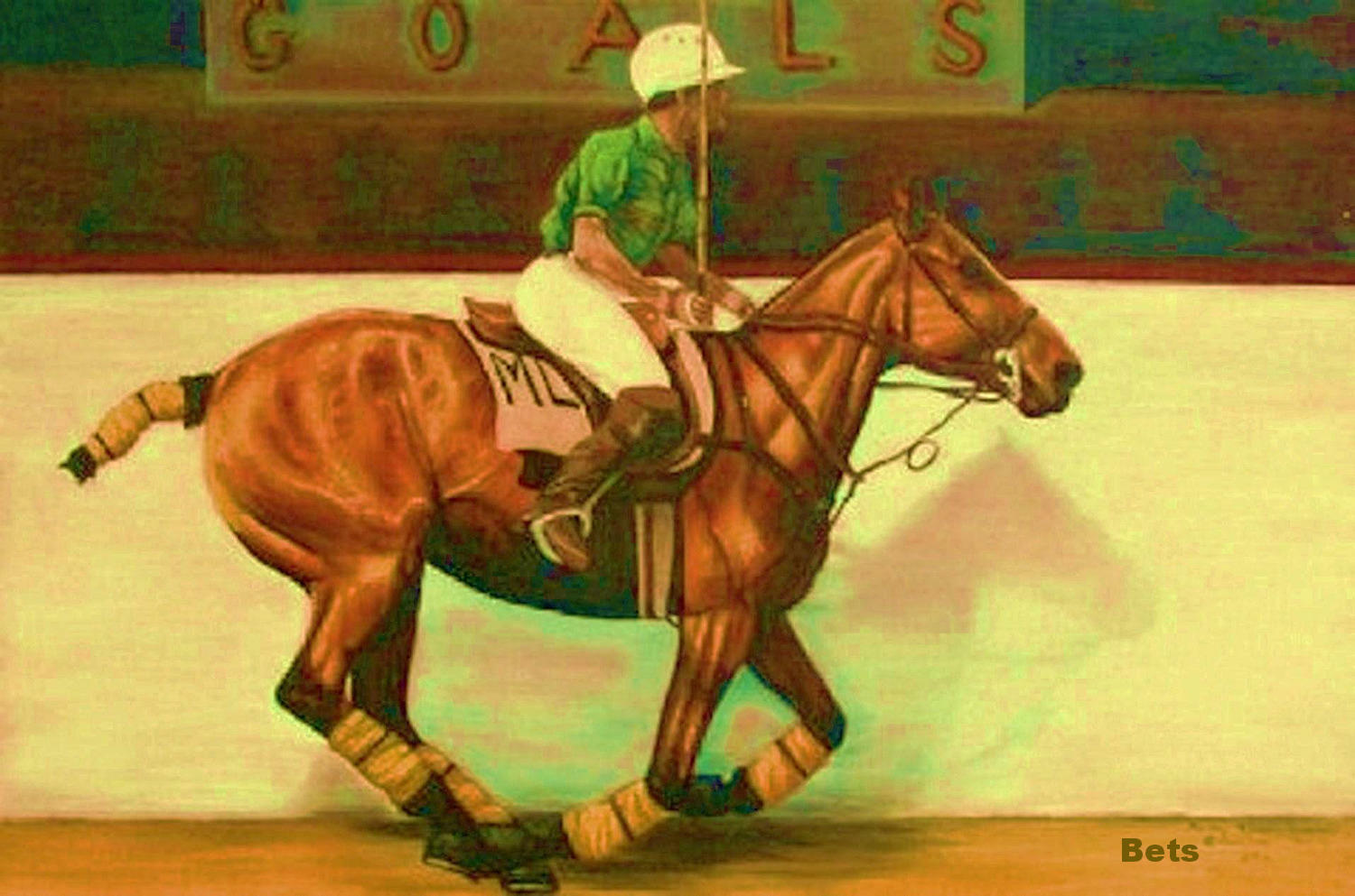 Giclee HORSE HORSE Giclee PRINT POLO Art WARMING UP artist BETS 6 COLORS print Größe 12 X 16 c71279