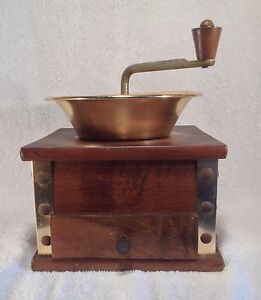Vintage Wood Coffee Grinder With Drawer