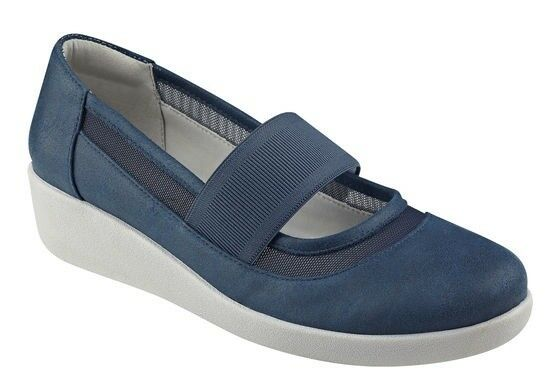 Easy Spirit Karalisa wedge pumps mary janes navy bluee sz 8 Med NEW