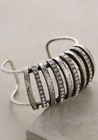 $298 Anthropologie Sparkled Slice Cuff Bracelet In Silver Yosca
