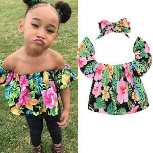 8d08ebaa5 US Floral Toddler Baby Girls Kids Off Shoulder Tops Shirt Romper+ ...