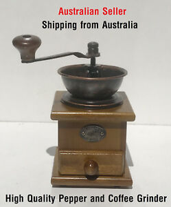 Mother-day-Pepper-Coffee-Grinder-hand-natural-Wood-Metal-Funnel-Removable-Drawer