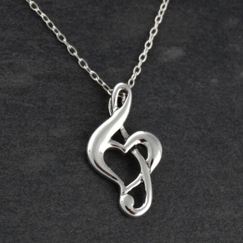 Treble Clef Heart Necklace 925 Sterling Silver Pendant Music Musician Love