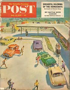 JULY-23-1955-SATURDAY-EVENING-POST-magazine-BEACH-PARKING-LOT-CARS