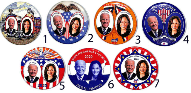 Amazing new set of 7 Different Biden-Harris 2020 Campaign Buttons--Free Postage