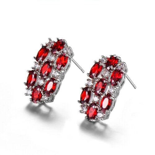 Magnifique Brillant Fire Red Garnet Topaz Gemstone Silver Femme Clous Crochet Boucles D/'oreilles