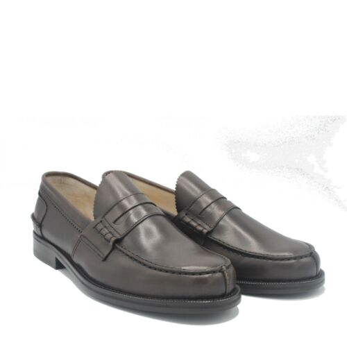 SAXONE OF SCOTLAND PENNY LOAFER DARK BROWN LEATHER