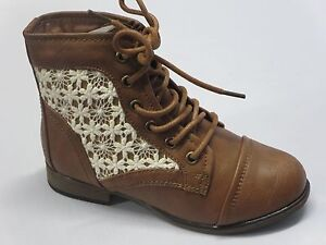 Girl Lace-up Boots (Chapter30k) Youth Crochet Ankle Boottie Tan ...