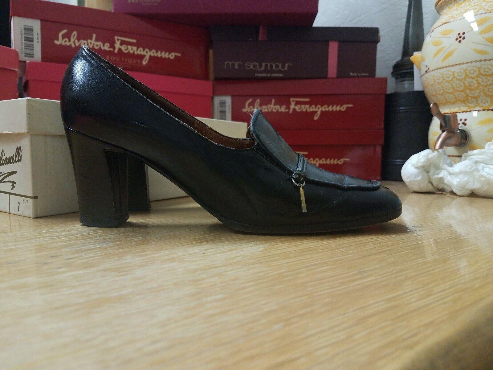 Original 1950s Vintage Black Leather Stiletto Heels By Frank More