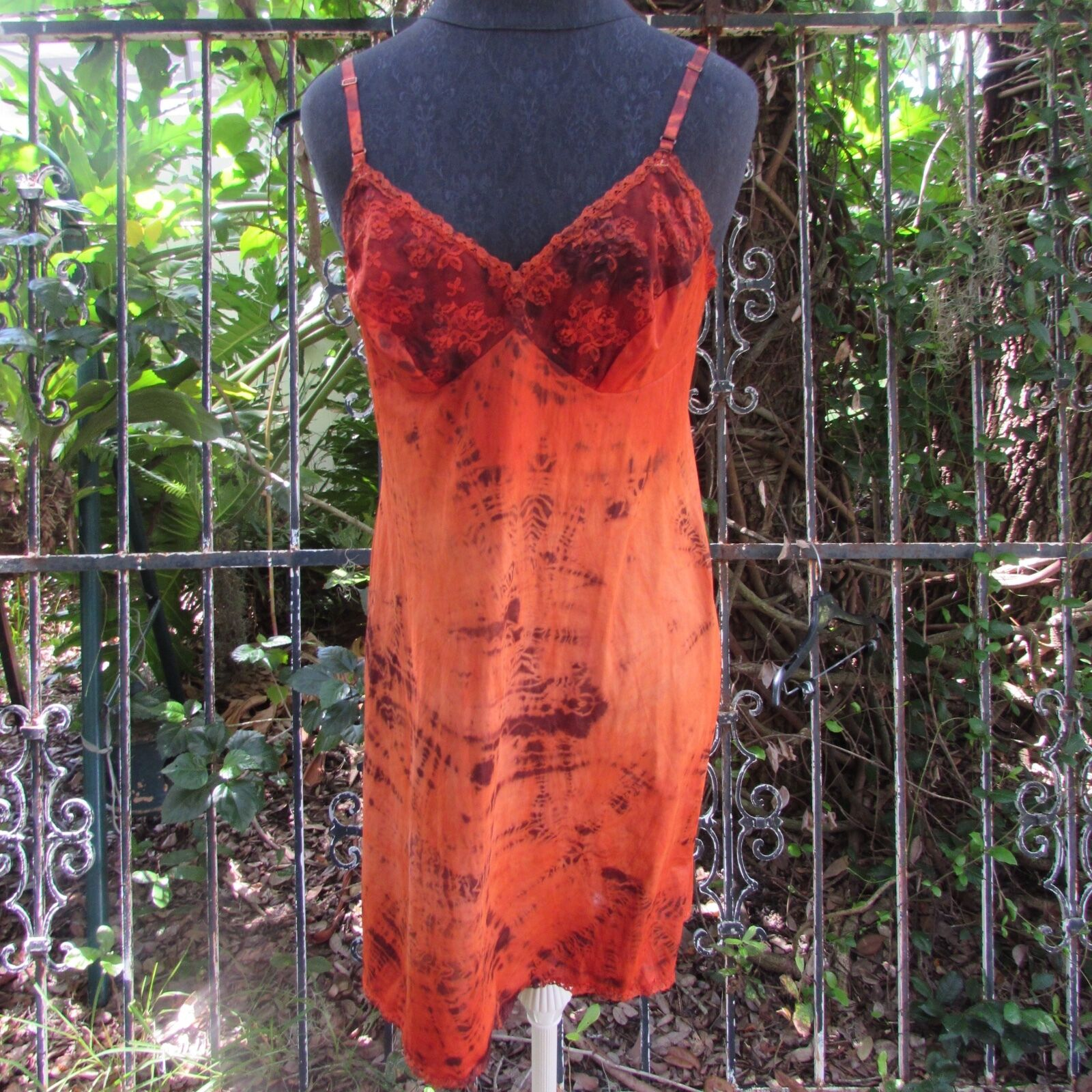 Sexy One of a Kind Dyed Slip Fall Crush Pin Up Vintage Hippie Dress Medium Large